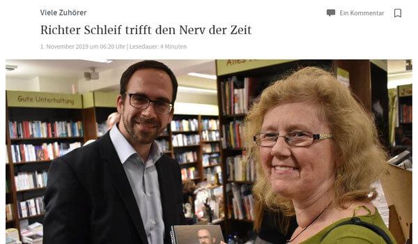 Richter Schleif trifft den Nerv der Zeit | Pressebericht | Thorsten Schleif
